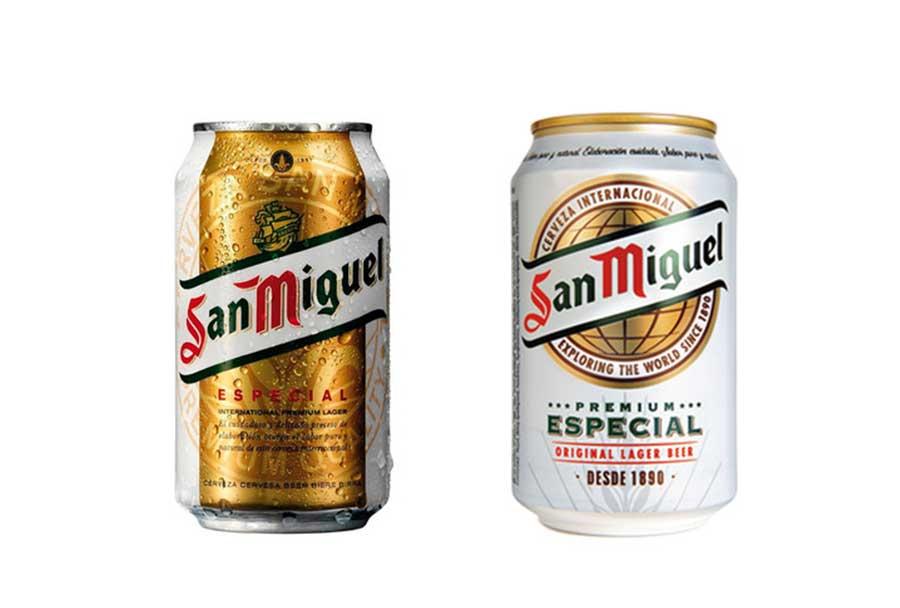 Antes y después del cambio de imagen de cerveza San Miguel